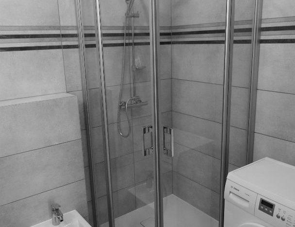 Nowoczesna kabina prysznicowa,pralka, bidet.